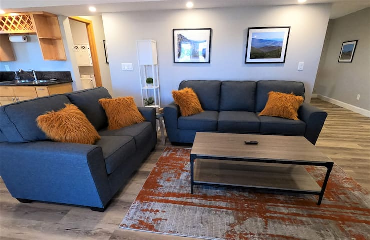 Full size couch doubles as a queen size sleeper sofa, and additional love seat.
