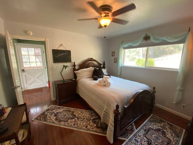 Organic cotton sheets, cotton comforter, black-out blind, ceiling fan, plus more -  in the private west facing end section of our small yet comfy home.