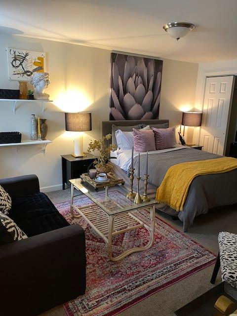 Chic-romantic, center-city, hotel-style apartment.