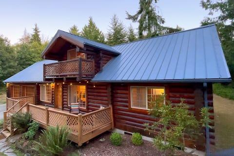 Peaceful 3-bedroom log cabin near National Park