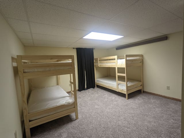 The bunk room has brand new bunk beds to sleep 4.