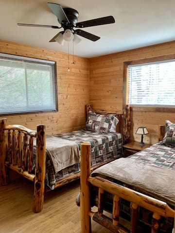 Bedroom with twin beds includes full size closet