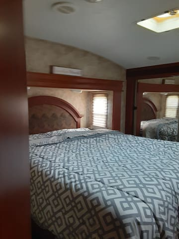 Queen bed bedding provided