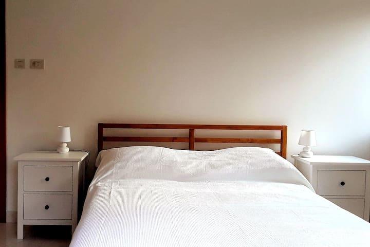 Bedroom 3: Bed, wardrobe, table & stool, TV