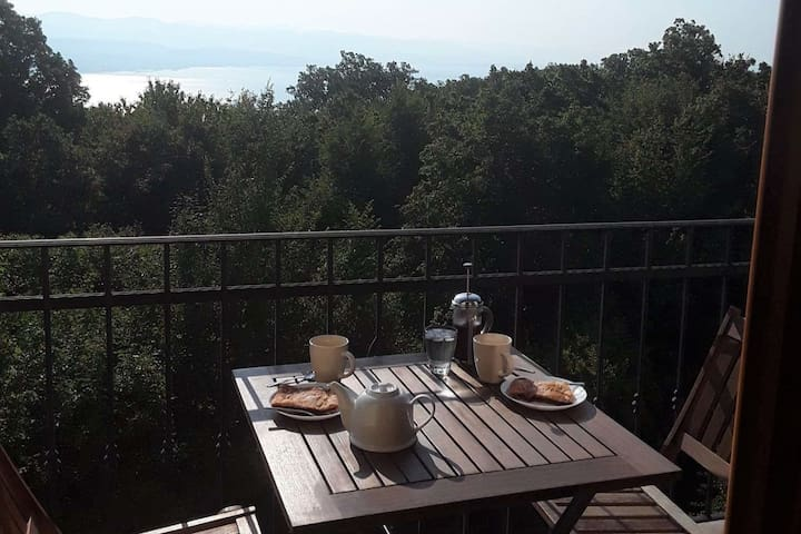 Watch the sunrise, sunset  over the sea from the balcony of Bedroom 1. The perfect place for a quiet breakfast or moonlit glass of wine, just for two.
