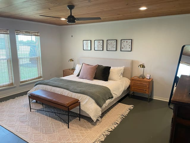 Master Bedroom on the Main Floor with Original Pine Ceiling