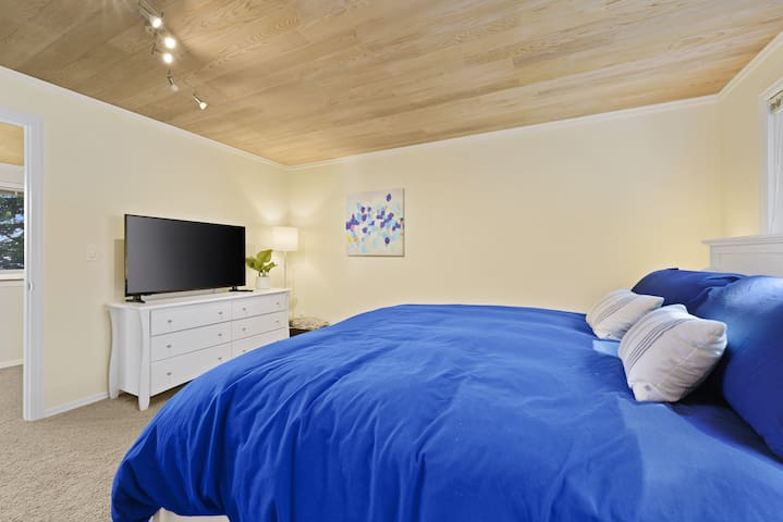 Large primary bedroom with king bed, huge closet, dresser and TV.