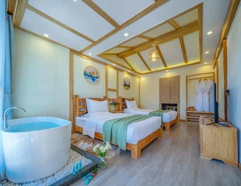浴缸·两晚免费接火车或飞机·实图拍摄·古城内·空调双床房·独立卫生间