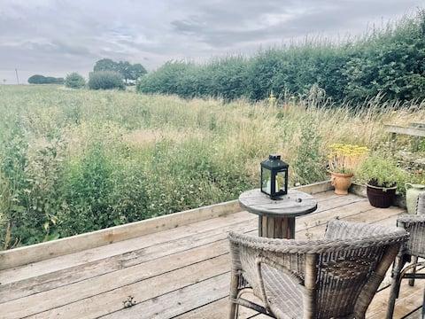 Quiet cabin overlooking open fields