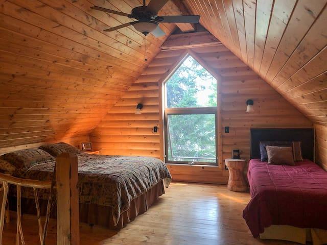 Loft bedroom sleeps 3, comfortably.