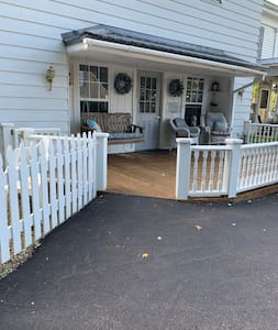 A slight incline of the pavement brings you right onto the deck.