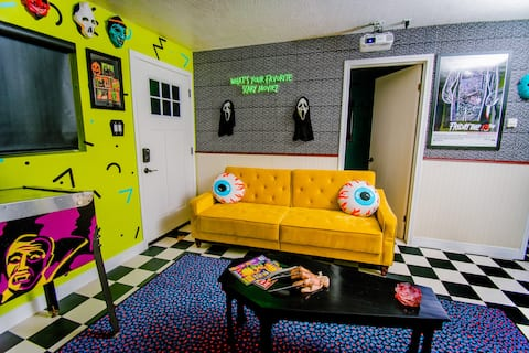 Retro 80's Horror Cabin, Themed Rooms, Unique AF