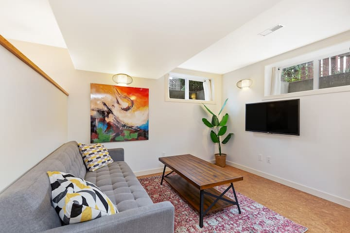 Sit back and relax! The living room is a restful and welcoming space including a large TV with HDMI cords and Netflix.