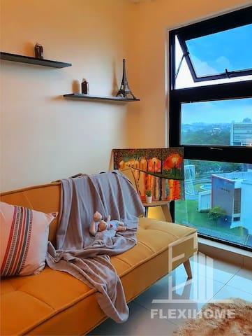 Spacious Living Room with Comfy Sofa and Sofa Pillow.