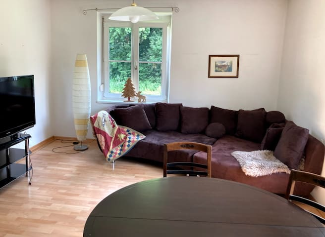 This is the family room/ living room. The sofa can be used as a sleeping space for 2 kids or one adult.