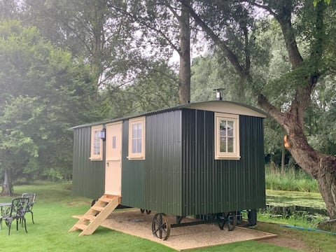 1 double bed shepherds hut, situated on the river.