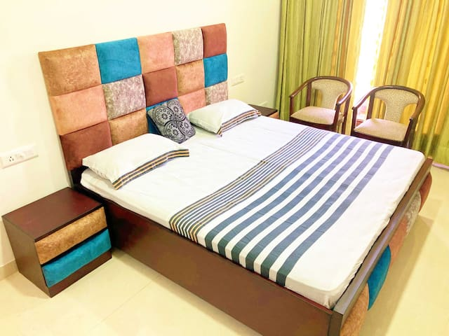 Newly built king size bed with side tables & chairs