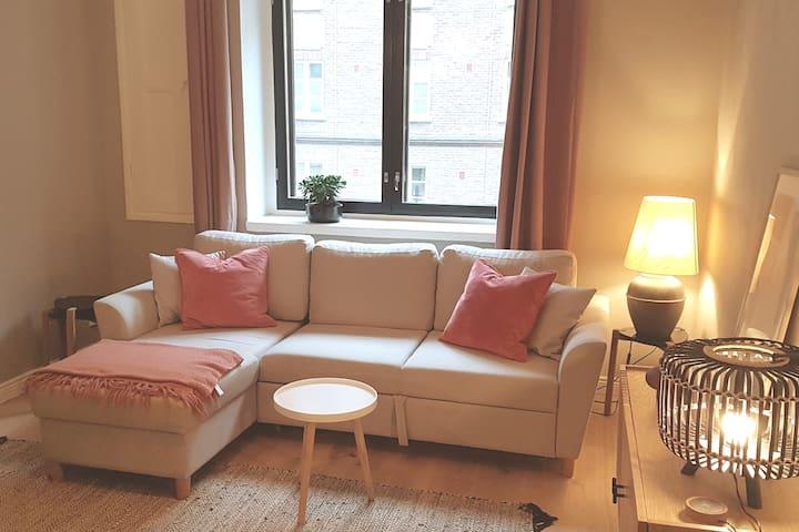 The 140 cm wide sofa bed, with a bedding madrass. Tämä sohva aukeaa  140 cm leveäksi parivuoteeksi, jossa on petauspatja.