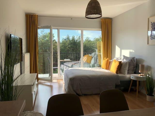 Wohn- und Schlafbereich mit Aussicht auf den Kiefernwald