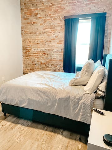 Bedroom features full size bed