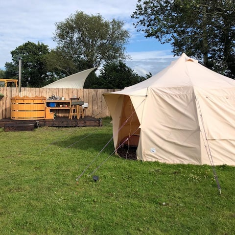 Private Luna bell tent with wood fired hot tub