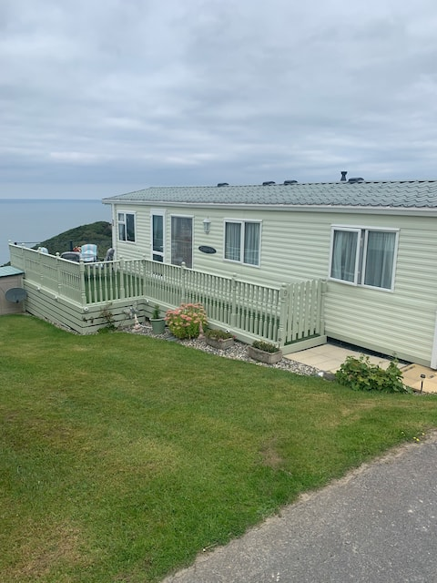luxury mobile home with stunning sea views.