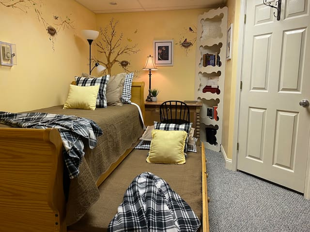 Whimsical second bedroom.  Note, the lower trundle bed pulls out further for comfortable sleeping on twin mattress.