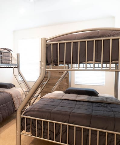 Room 3 - 2 bunk beds: top is twin bottom is a double.