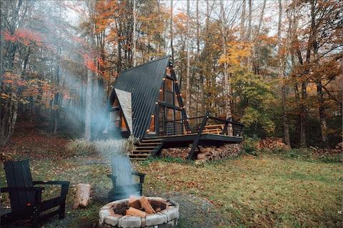 Tiny Black A-frame: cabaña sostenible junto al lago