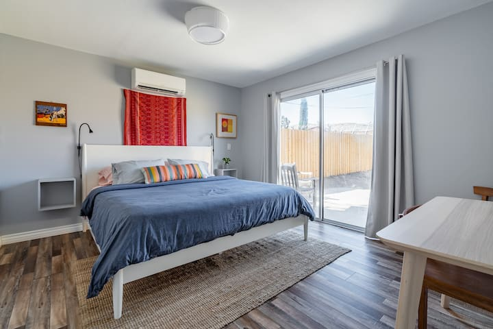 The second bedroom also features a king sized Avocado organic mattress and organic sheets for a restful night's sleep.