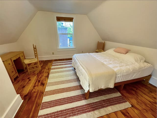 Rugs and blankets compliment the original chimneys used in the early 1900s.