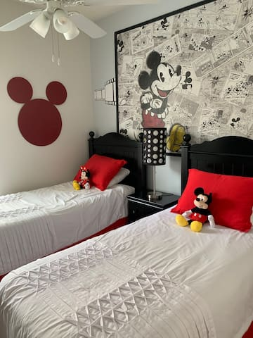Mickey Mouse bedroom with two twin beds