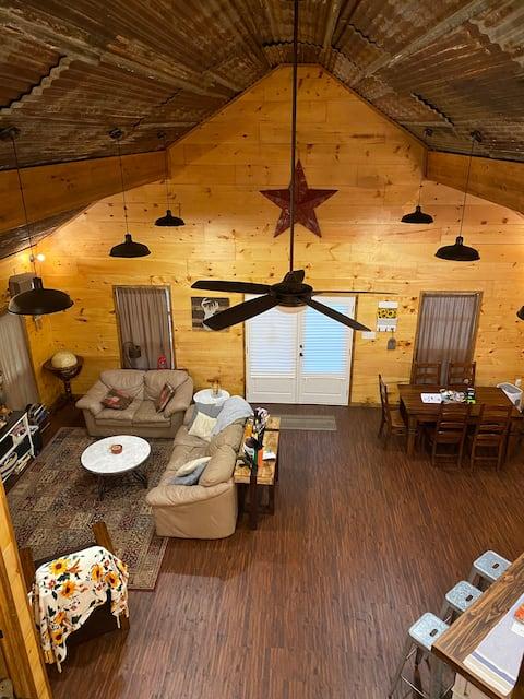 Luxury cabin in the woods.