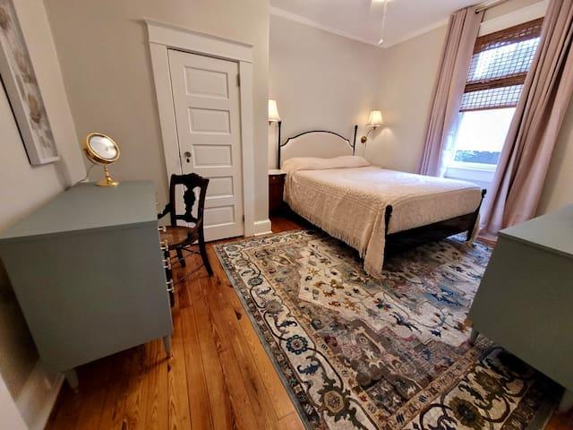 "Bedroom #2 with 12"" green tea memory foam mattress in protective encasements.  Down alternative pillows.  Includes ceiling fan."