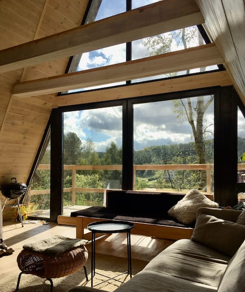 Modern & cozy A-frame house with spectacular view!