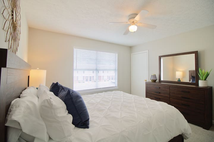 On the second floor, you'll find this bedroom with a queen size bed and memory foam mattress.