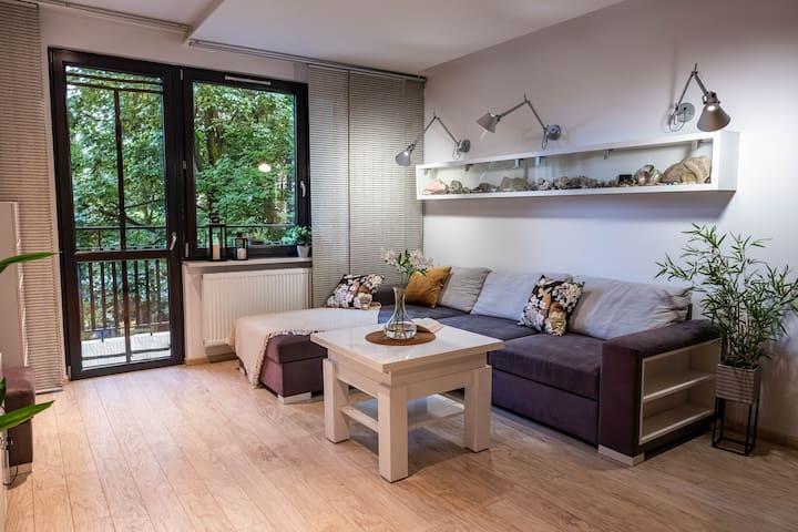 Salon, wygodna duża rozkładana sofa z szezlongiem idealna do relaksu. Stolik który z regulacją wysokości blatu i możliwością rozłożenia tak aby wygodnie zjeść posiłek w gronie przyjaciół.