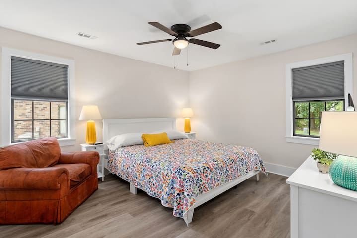 Master bedroom with California king bed. The bed is memory foam from Tuft & Needle, very high quality.