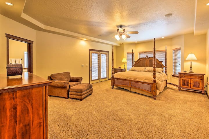 Bedroom No. 1 features a king-sized mattress, walk-in closet, private bathroom and private patio