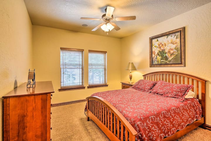 Bedroom No. 3 features a queen-sized mattress and view of the golf course