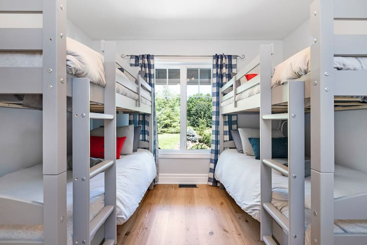 Fourth bedroom with two sets of single bunk beds
