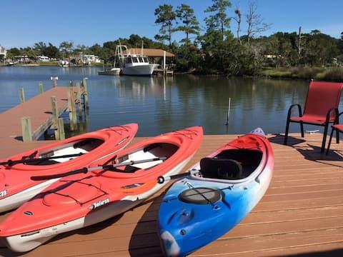 Kayaks, Fishing, Waterfront cabin--private dock