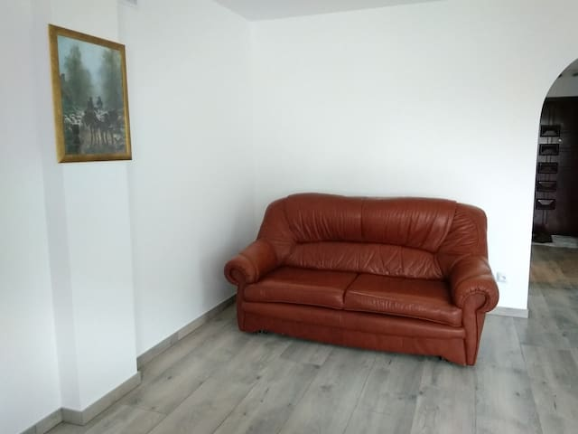 salon- rozkładana sofa
