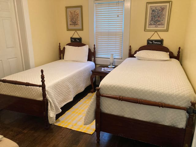 """Brand-new memory foam mattresses in our """"Princess & the Pea room"""" - can you guess why we call it that?"""