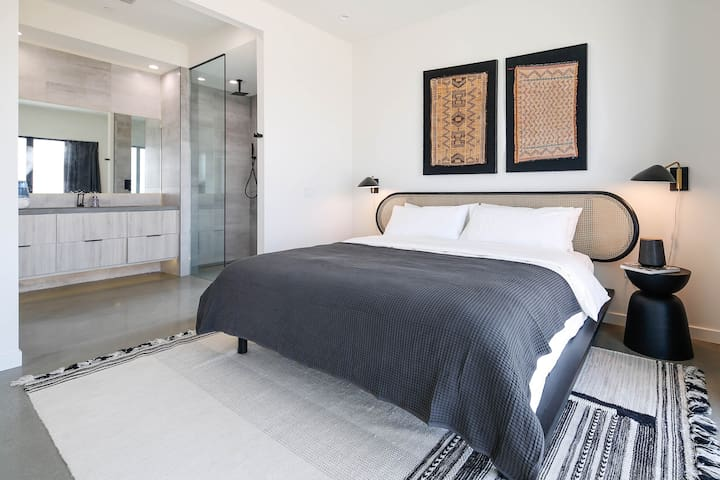Master bedroom with vacation style furniture