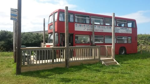 Buster's Bus on the Cornish Coast