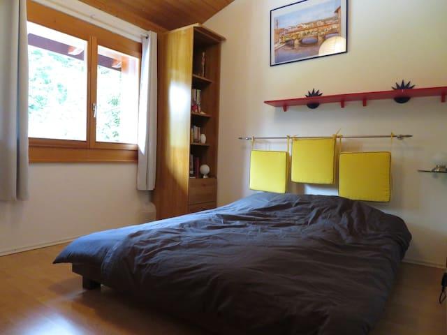 Au 1er étage la chambre grise. Un grand lit de 160x200, grande armoire de rangement, armoire penderie à 2 portes. 2 duvets et 2 édredons, avec duvets supplémentaires et toute la literie nécessaire.