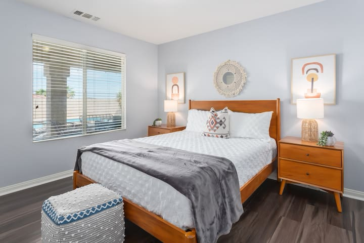 With natural light, cool air, and high-quality bedding, wake up in the bedroom of your dreams.