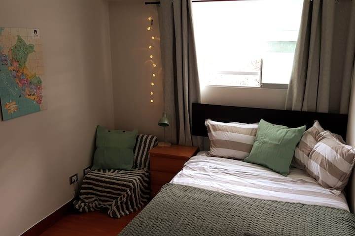 Cosy Double-Bed with a convertible sofa and a nice view of flowers outside. For a nice sleep you can use our black-out curtain and close the double glass window.  If you rather feel like working, you can enjoy our  highspeed internet (LAN and wifi).