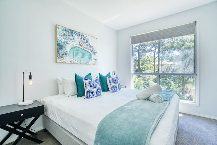 The third bedroom has a king-sized bed that can be split into two king singles for flexibility.
